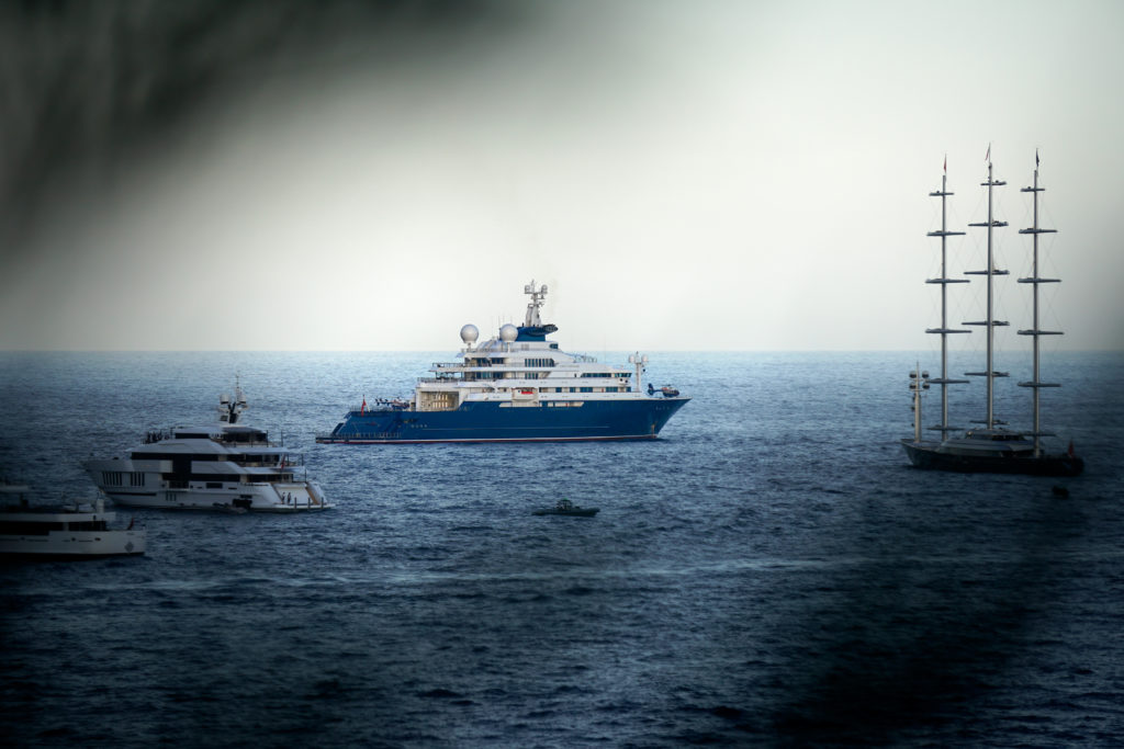 One of the largest yachts during MYS 2019, Octopus next to Maltese Falcon.